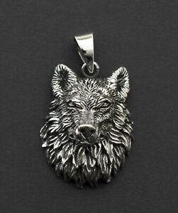 Pendant Head Wolf Fenrir Viking Talisman Sterling Silver 925 9g 26369