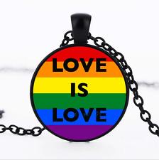 Love is Love Black/Bronze/Tibet silver Glass dome Chain Pendant Necklace#