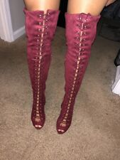 Women's thigh high Lace Up Heel Boots Peep Toe Size 9 Burgundy