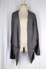 LEITH Slouch Cardigan Sweater LARGE Gray Drop Shoulder 3/4 Sleeve Stretch