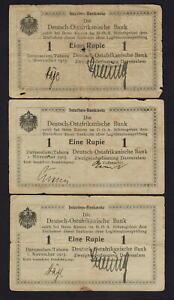 German East Africa.  1915 1 Rupie.. Series B - light green paper x 3 different