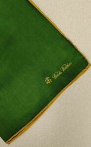 Brooks Brothers green Pocket Square brand new 100% silk msrp $55