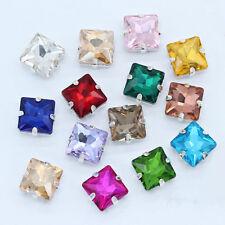 36pcs 14mm Sew On square rhinestone crystal cut glass cabochons dress making diy