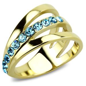 Ladies gold ring cz 18kt blue topaz steel band pretty 14mm comfort sparkle 3441
