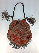 Antique French Glass  Bead & Cloth Purse - Sterling Silver & Stone Clousure