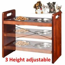 New ListingDurable Dog Cat Double Feeding Bowls Stainless Steel Pet Water Food Dish Feeder