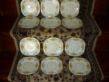 LOVELY PALE YELLOW & FLORAL LUNCHEON/DESSERT SET/ BONE CHINA, ENGLAND