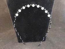 Faux Pearls Rhinestone Crystals Black Wire Alice Band / Headband Jewellery