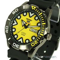 New SEIKO 5 SPORTS AUTO ION BLACK S/STEEL DIVERS STYLE YELLOW FACE SRPA11K1