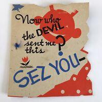 Vtg Birthday Devil Greeting Card 1937 Card Rust Craft Boston