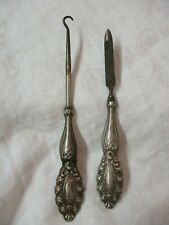 Antique Sterling Silver Boot Button Hook & Nail File set