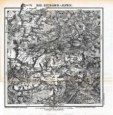 Die Stubaier-Alpen 1901 kl. orig. Waltenberger-Karte Zuckerhütl Ridnaun Botzer