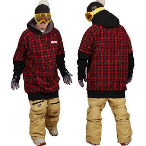 December long tall hoodie ski snowboard-tartan red