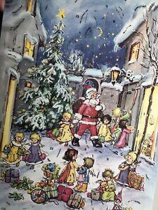 Vintage Christmas Glitter Advent Calendar, 3-D Card, Unused, Envelope W Germany