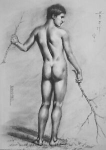 ORIGINAL pencil charcoal drawing  male nude -Young man