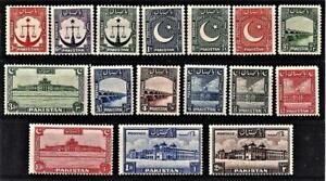 Pakistan = 1948 Short Set to 2R SG 24-39 (16)  Lightly Mounted Mint M/M