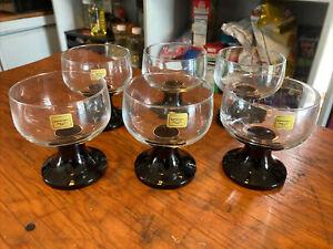 "Luminarc Black Stem Sherbet/Dessert Glasses D'Arques Set Of 6 France 4"" Tall"