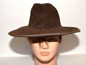 Vintage Henschel Skullys Hippie Country Western Brown Suede Cowboy Hat Size S