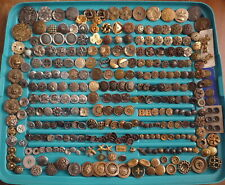Lot of Antique Metal Buttons Intricate Victorian Novelty Lion Heads Geometric
