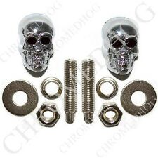 2 Chrome Plated Metal - Custom License Plate Frame Tag Bolts - Skull Black Eye
