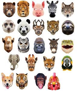 Animal Masks 2D Card Party Mask Zoo Farm theme Fancy Dress jungle Costume