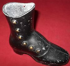 "Vintage Black Metal Boot Shoe Planter Decorative Victorian Style 4 3/4"" High"