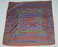 """Vintage Chocolate Brown Mintt Green Cobalt Blue Silky Satin Square Scarf 27"""""""