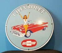 VINTAGE CHEVROLET PORCELAIN GAS AUTO SALES SERVICE STATION DEALERSHIP PUMP SIGN