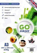 GO Inkjet A3 Glossy Photo Paper 20 Sheets 230gsm for Inkjet Printers