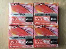 20 Discs TDK ScratchProof 8cm Mini 2x 1.4GB DVD-RW 30Min Singled sided Camcorder