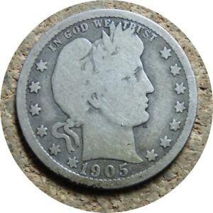 elf Barber Quarter Dollar 1905 O