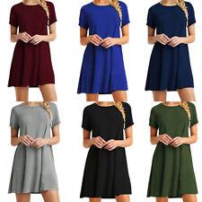 Women Summer Short Sleeve T-Shirt Dress Tunic Top Loose Swing Casual Dress AU