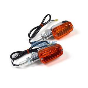 Mini Rectangle Aluminum Turn Signals Lights 12 Volt Polished Amber