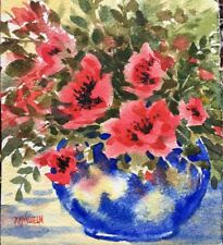 5X6 Original Watercolor By Pamela Wilhelm Poppy Bouquet In Cobalt Blue vase