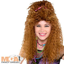 80s Brown Crimp Wig Ladies 1980s Retro Curly Funky Womens Adults Costume Wig New