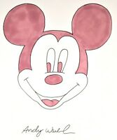 ANDY WARHOL ORIGINAL SIGNED INK & WATERCOLOR MIXED MEDIA MICKEY MOUSE