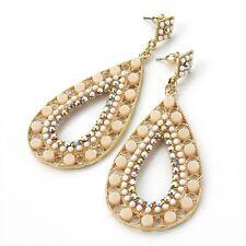 Beige & AB Crystal Diamante Oval Drop Earrings