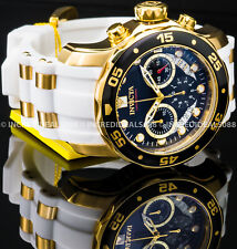 Invicta Mens Pro Diver SCUBA Chronograph 18Kt Gold Black DIal White Strap Watch