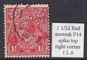 AUSTRALIA KGV 1 1/2d RED SM WMK P14 WITH SPIKE TOP RIGHT CORNER USED 1L6