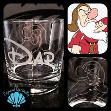 Disney Grumpy, 7 Dwarves Whiskey Glass Any Name Engraved! Dad Fathers Day Gift