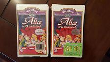 2  Alice in Wonderland  VHS Rare Walt Disney Masterpiece Collection STILL SEALED
