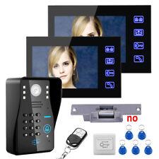 "7"" RFID Password Video Door Phone Intercom System+Electric Strike Lock 2 Monitor"