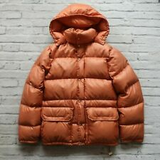 Vintage down jacket puffer shiny nylon Rust M with hood 70s M