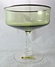 Noritake Rainbow Green Crystal Tall Sherbet Champagne Glass Platinum Trim