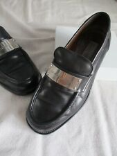 410741d6723 Dolce Gabbana vintage 90s black leather thick logo plate authentic loafers  6.5