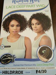 Motown Tress Human Hair Premium Wig Bob Black with Ambur Highlight Wavy Lace Cap