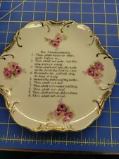 Vintage Mid-State Products Ten Commandments Collector Plate 18K Gold Trim Japan