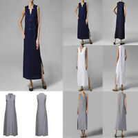 Women Sleeveless Button Solid Sundress Summer Casual Linen Tunic Maxi Long Dress