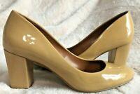 Shoes of Prey Beige Patent Leather Heel Size 6.5 Closed Toe Block Heel