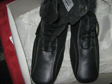 Stiefelette  echtes Leder mit Veloureinsätzen schwarz g.8 ( 42 )